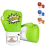 Kids Boxing Gloves, SKL Boxing Gloves for Kids Boys Girls 3-15 Junior Youth Boxing Gloves Toddler Boxing Gloves Training Boxing Gloves for Punching Bag Kickboxing Muay Thai, MMA (GreenWhite)