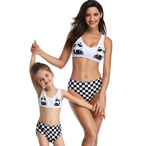 Yuyudou moeder en baby dochter dames tweedelig badmode, print hoge taille badpak ouders kind bikini