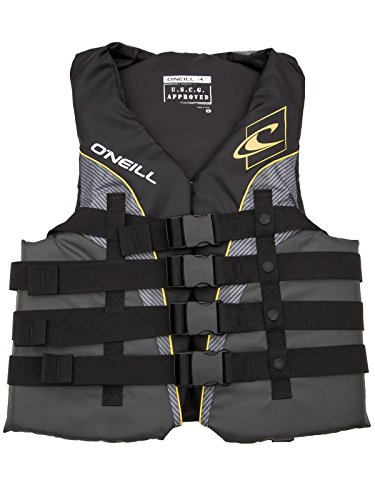 New O'Neill Mens Superlite USCG Life Vest XXXL Black/Graphite/Smoke/Yellow (4723)