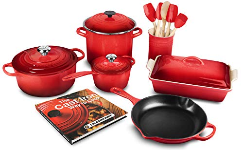 Le Creuset 16-piece Cookware Set, Cerise (Cherry Red)