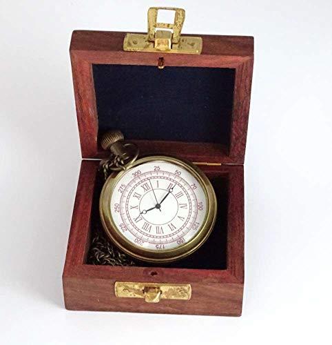 linoows Taschenuhr mit Kette, Kapitäns- Uhr, Nostalgie aus Altmessing in der Holzbox
