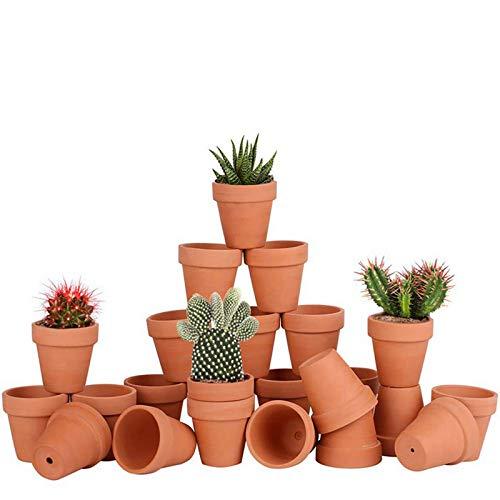Awsuc Set di 28 Vasi da Fiori 5.5cm,vasi per Piante Vaso in Terracotta in Ceramica con Foro di drenaggio per Interni, Piante da Esterno, Artigianato, Matrimonio