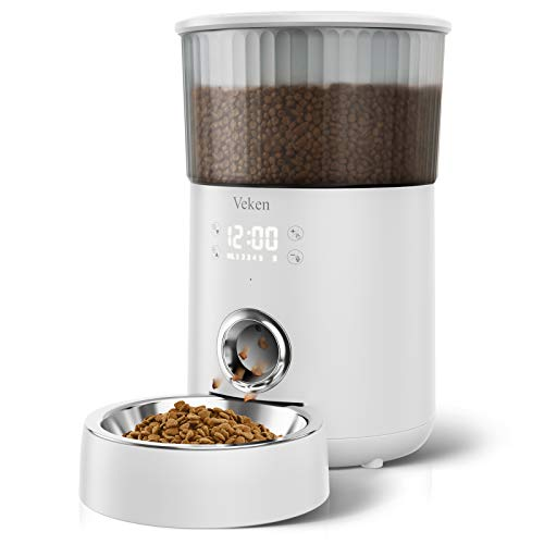 Veken Automatic Cat Feeder, 135oz/4L Dog Feeder Pet Food Dispenser with Programmable Timer, Portion Control 1-5 Meals Per Day, Dual Power Supply & Voice Recorder for Small to Medium Cats Dogs (White)