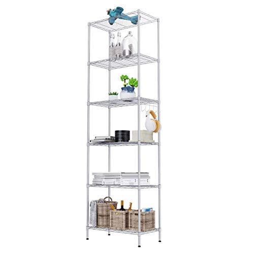 "HOMEFORT 5-Tier Wire Shelving 5 Shelves Unit Metal Storage Rack Durable Organizer Perfect for Pantry Closet Kitchen Laundry Organization in Black,21""Wx14""Dx61""H"