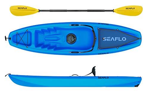 Seaflo Sit on Top Kajak mit Paddel und Angelrutenhalter -blau-