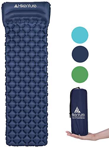Wandeling opblaasbare slaapmat door kampeermatras en opblaasbare rolmat- compact en vochtbestendig - voor wandelen, rugzakken, hangmat, tent (blauw en groen)