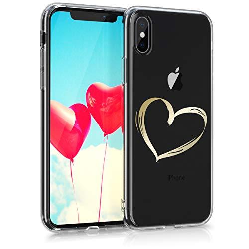 Preisvergleich Produktbild kwmobile Apple iPhone X Hülle - Handyhülle für Apple iPhone X - Handy Case in Herz Brush Design Gold Transparent