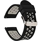 Universal 18mm 20mm 22mm 24mm Width Silicone Watch Band Replacement, Choose Size and Color (20mm, Black-Grey)