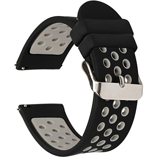 Universal 18mm 20mm 22mm 24mm Width Silicone Watch Band Replacement, Quick Release Rubber Watch Bands for Men & Women (20mm, Black-Grey)