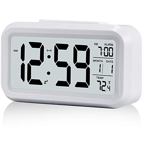 Digital Alarm Clock,Battery Operated Small Desk Clocks,with Date,Indoor Temperature,Smart Night Light,LCD Electronic Clock for Bedrooms Home Office - White