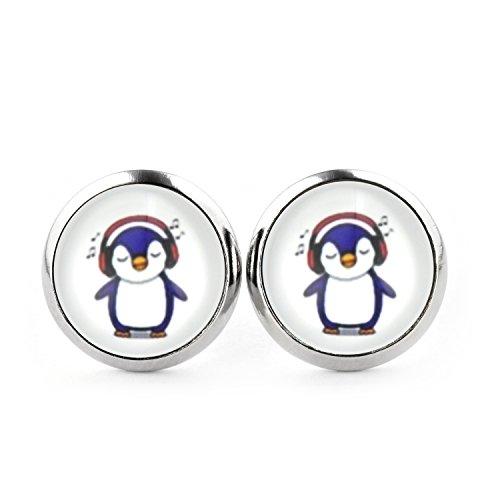 SCHMUCKZUCKER Damen Ohrstecker Motiv Kleiner Pinguin Modeschmuck Ohrringe silber-farben 2 Größen 12mm