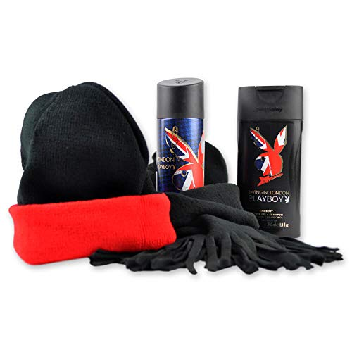 Handverpacktes Pflege-Set für Männer Swing Man mit Playboy Duschgel sowie Bodyspray inkl. Wendemütze und kuscheligem Schal