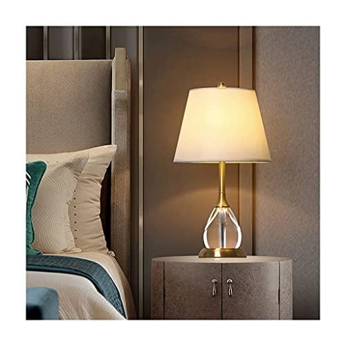 lámpara de mesita de noche Lámpara de mesa moderna creativa cobre cristal lámpara de mesa simple lujo sala de estar dormitorio decoración lámpara tela lámpara lámpara de cama cálida lámpara de noche l