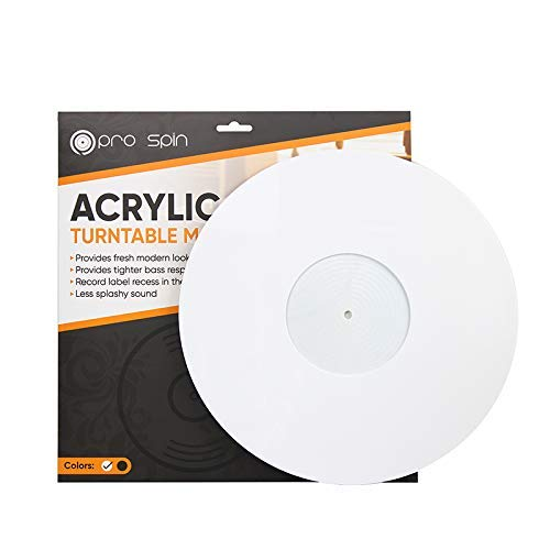 White Turntable Mat by Pro Spin – Acrylic Slipmat For Vinyl LP Record Players – High-Fidelity Audiophile Acoustic Sound Support for DJs – Help Reduce Noise Due to Static and Dust