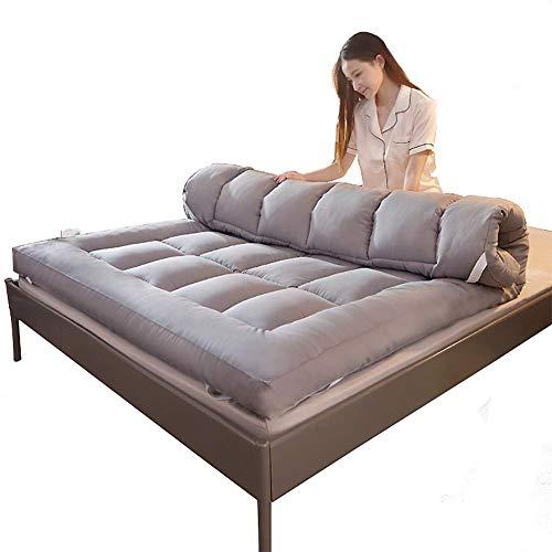 ASDFGH Espesar Terciopelo de la Pluma Futon colchón, Que Colchón Plegable Primeros del colchón de Fibra Ultra Soft Colchones de futon 4 Bandas de Anclaje-Gris Queen
