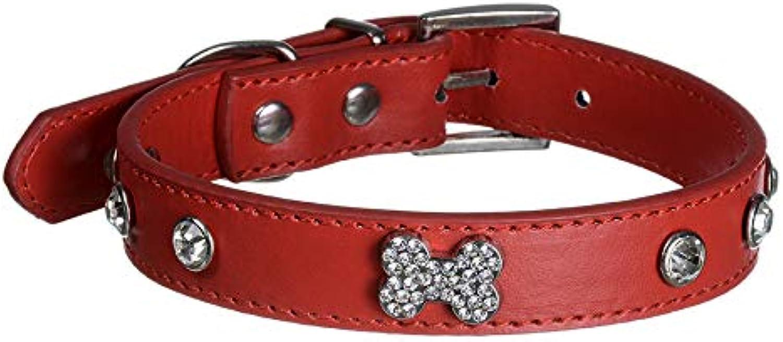 Pet Online Pet Collar with Diamond Bone Rivet Decoration pu Leather Dog Collar,red,2×2836cm