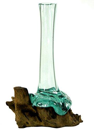 Guru-Shop Vaas van Gerecycled Glas, Glazen Vaas Burl Hout - M10, Bruin, Vazen Bloempotten
