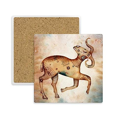 DIYthinker maart april Ram sterrenbeeld Zodiac Square Coaster Cup Mok Houder Absorberende Steen voor Drinks 2 stks Gift