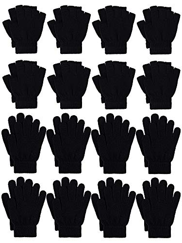 Cooraby 12 Pairs Kid's Warm Magic Gloves Knitted Half Finger Mittens Typing Gloves (Black, 5-10 Years)