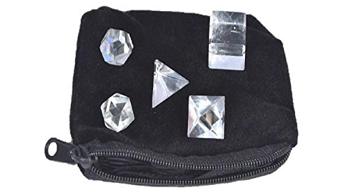 Wow A++ Clear Quartz Crystal 5 Stones Sacred Geometry Sets Gemstone Platonic Solid Top Grade Quality