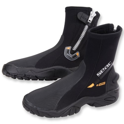 SEAC 6mm Super-Stretch Zippered Hard Sole Dive Boots Booties, Large (10/11)