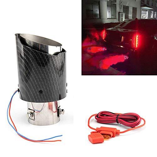 2,5 '' 63MM Punta del Silenziatore di Scarico per Auto con Luce LED Rossa Tubo Luminoso per Modifica Punta Della Coda di Scarico per Auto in Fibra di Carbonio