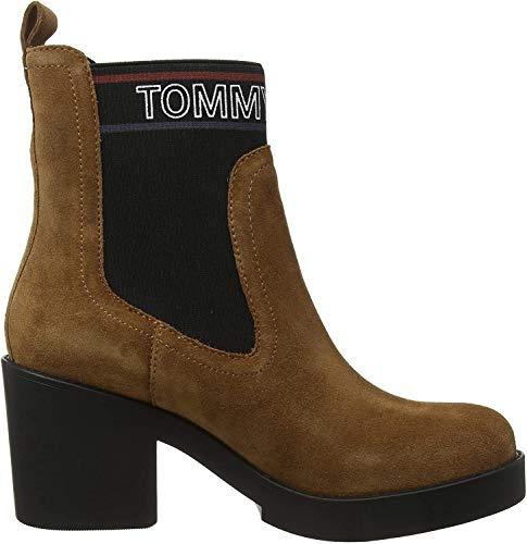 Tommy Hilfiger Damen Corporate Elastic Suede Boot Stiefeletten, Braun (Winter Cognac Gvi), 41 EU