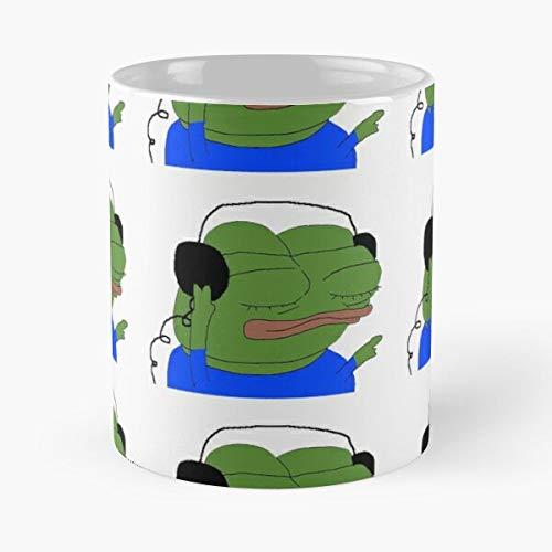 Desconocido Emotes Pepe Meme Frog Happy Toilet Twitch Special Taza de café con Leche 11 oz