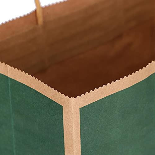 Eosnow Bolsa de Papel Kraft Exquisita 20 Piezas para Ropa(Borde Verde Oscuro sólido)