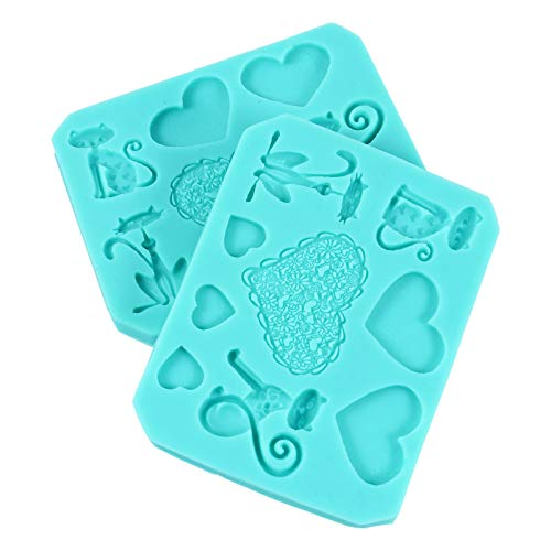 Hemoton 2 moldes de silicona con forma de corazón para tartas, chocolate, fondant, repostería, decoración de pasteles, decoración de cupcakes, para día de San Valentín, bodas y fiestas