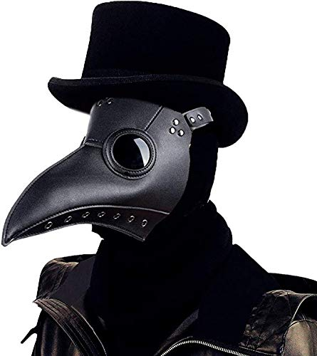 ALIXIN-Medieval Black Death Plague Doctor Vogel Schnabelmaske,Heavy Metal Rock Maske,Gothic Retro Steampunk Props Masken,Long Nose Beak Steampunk für Halloween Christmas Party Kostüm Kopf Maske.