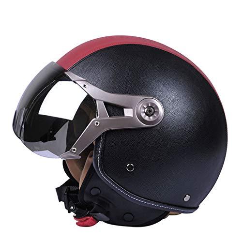 TTFGG Casco vintage de media motocicleta, cara abierta, casco de moto jet retro, ciclomotor cruiser, casco con certificación DOT, 02, M