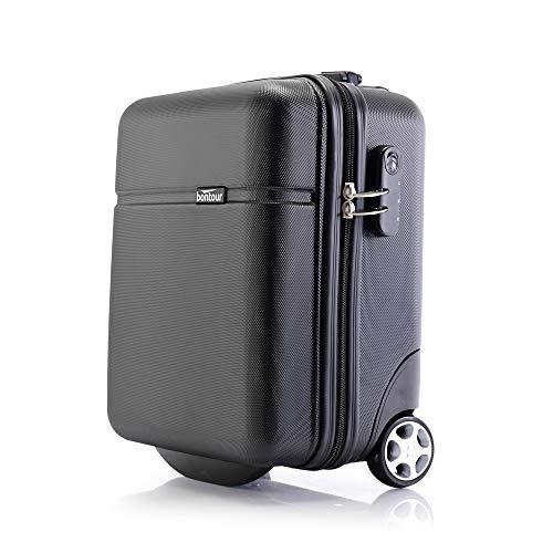 Bontour CabinOne WizzAir Handgepäck 40x30x20 cm 2 Rollen Trolley Bordgepäck Koffer (Schwarz)