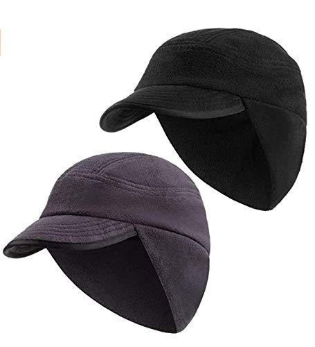 2 Piezas Sombreros con Orejeras de Lana de Invierno Gorra de Orejeras a Prueba de Viento Sombrero de Visera Polar de...