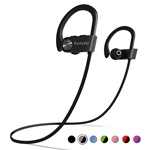 Bluetooth Headphones, Letsfit Wireless Headphones, IPX7 Waterproof Sports Earphones for Gym Running, HD Stereo Headset w/Mic, 8 Hours Battery Noise Cancelling Bluetooth Earbuds (BlackGrey)