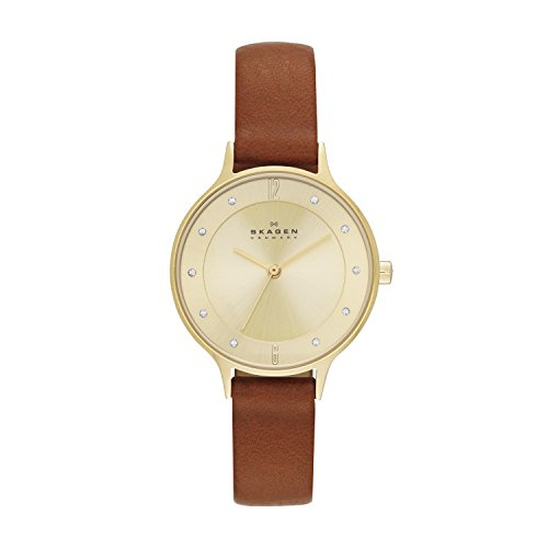 Skagen Women's Anita Quartz Analog Stainless Steel and Leather Watch, Color: Gold/Brown (Model: SKW2147)