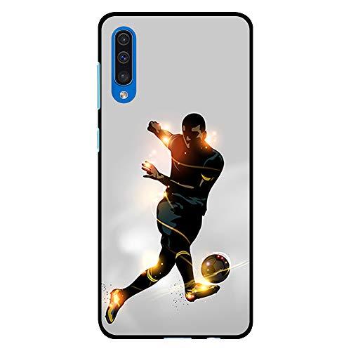 BJJ SHOP Funda Negra para [ Samsung Galaxy A50 ], Carcasa de Silicona Flexible TPU, diseño: Futbolista chutando la Pelota, luz de energia