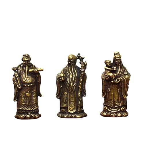 JONJUMP Retro Bronce Taoísmo Tres Dioses de la Bendición Riqueza Longevidad Estatua de Buda Cobre puro Figuras Adornos Feng Shui Home