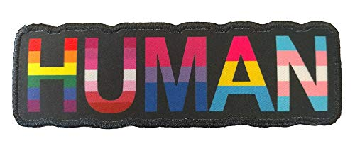 Human LGBT Flags Rainbow Lesbian Bisexual Pansexual Transgender - 4 inch Iron-on Patch