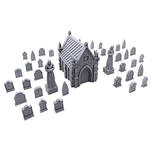 Mausoleum Graveyard Scene, Terrain Scenery for Tabletop 28mm Miniatures Wargame, 3D Printed and Paintable, EnderToys