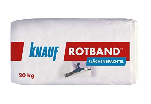 Knauf Rotband Flächenspachtel – schnell härtende Spachtel-Masse zum Spachteln und Glätten von Putz, Mauerwerk etc., leicht zu verarbeiten, Wand-, Decken-Spachtelmasse für Innen-Bereich, 20-kg