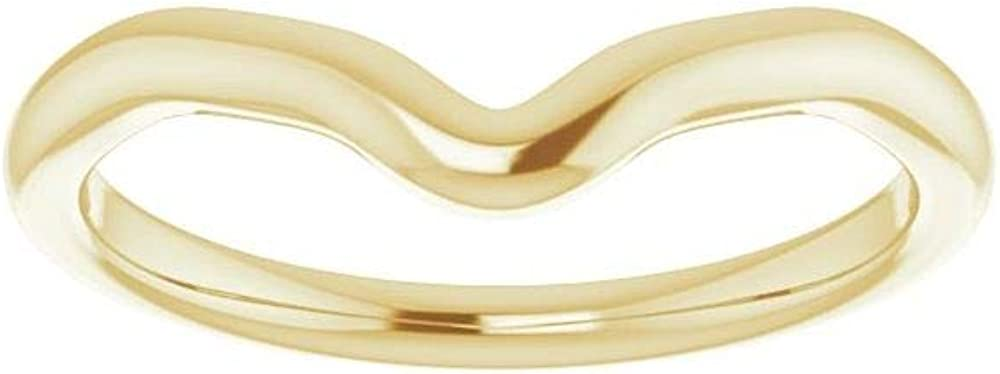 Solid 18K Yellow Gold Curved Notched Wedding Band for 8x4mm Marquise Ring Guard Enhancer - Size 7