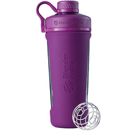 BlenderBottle Radian Glas Wasserflasche mit BlenderBall, geeignet als Protein Shaker, Diät Shaker, Fitness Shaker oder Eiweißshaker mit Silikonhülle, lila, 820 ml