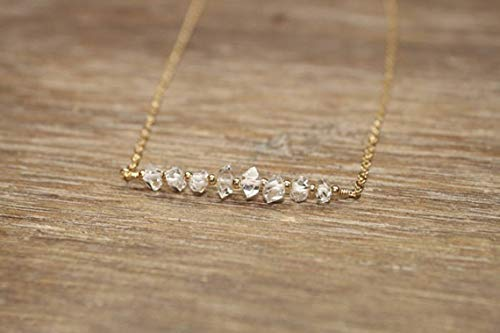 Natural Herkimer Diamond Necklace, Gold Filled, Rose Gold or Sterling Silver Beads, Beaded, Bar Necklace, Diamond Crystal Jewelry, April Birthstone 6-8 mm Fancy Faceted 16 inch Gemstone Necklace