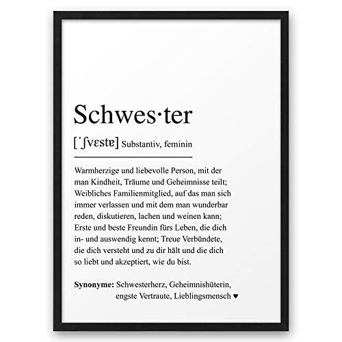 SCHWESTER Definition ABOUKI Kunstdruck Poster Bild Geschenk-Idee Geschwister Familie Freundin Geburtstag Weihnachten - ungerahmt DIN A4