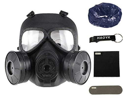 haoYK Máscara antigas simulada de, máscara de cara M04 con ventilador doble, para protección de paintball, airsoft (Negro)
