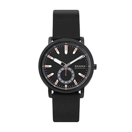 Skagen Men's Colden Quartz Analog Stainless Steel and Silicone Watch, Color: Black (Model: SKW6612)
