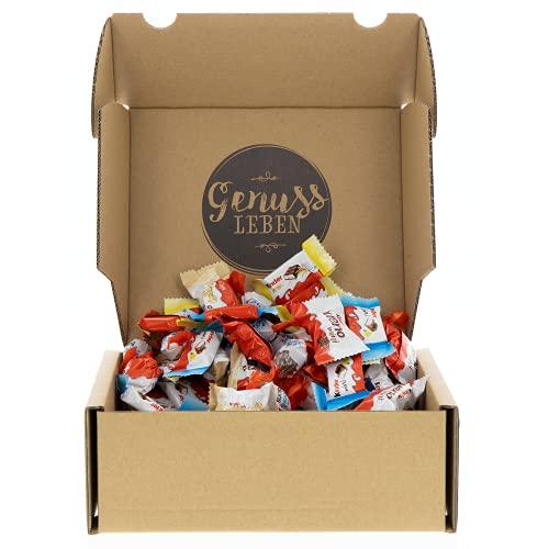 Genussleben Box mit Happy Moments 648g, Großpackung mit Kinder Schokolade Mini im Mix mit Bueno white und Vollmilch, Kinderriegel, Schokobons, Kinder Country