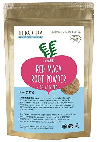 The Maca Team Gelatinized Red Maca Powder, 100% Organic, Fair Trade, GMO-Free Maca Powder, 8 Ounces, 25 Servings