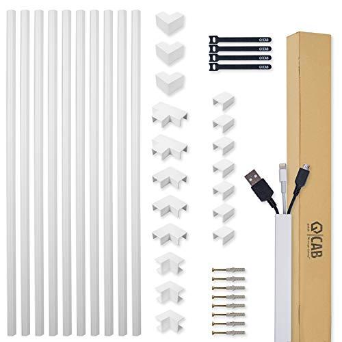 Kabelkanal Set weiß selbstklebend 10m (1,5 x 1,0 x 100 cm) - mit extrastarkem Schaumklebeband zur Montage ohne Bohren